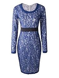 Women's Sexy Sheath Dress,Solid Round Neck Midi Long Sleeve Blue / Purple Spring / Summer / Fall