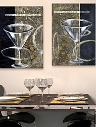 cheap -E-HOME® Stretched Canvas Art A Glass Of Red Wine Cup Decoration Painting Set of 2