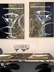 abordables -e-HOME lona envuelta arte de una copa de vino tinto pintura decoración taza de juego de 2