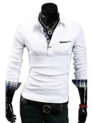 lesen Männer Revers koreanische Art Persönlichkeit Revers Manschette schlank Casual Langarm-T-Shirt o