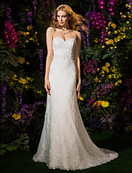 cheap -Sheath / Column Sweetheart Neckline Court Train Lace / Tulle Made-To-Measure Wedding Dresses with Beading / Appliques / Sash / Ribbon by