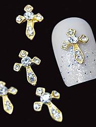 10 stk guld 3d klar rhinestone diy tilbehør legering søm kunst dekoration