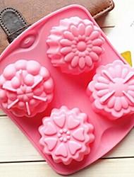 economico -4 fori di stampo gelatina muffa fiori diversi torta ghiaccio di figura del cioccolato, silicone 15.5 × 14 × 3 cm (6.1 × 5.5 × 1.2 pollici)