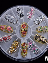 cheap -12PCS Fashion Mix Alloy Full Cover  DIY Nail 8CM Wheel Rhinestone Nail Art Decoration