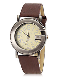 baratos -Mulheres Relógio de Pulso Venda imperdível PU Banda Amuleto / Casual Vermelho / Marrom