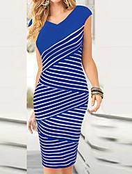 Недорогие -Монта женские моды V шеи полосы одеваются