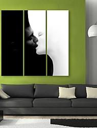 E-Home® Leinwand Kunst Kuss dekorative Malerei Set von 3