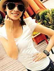 billige -Dame - Ensfarvet Sødt T-shirt