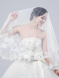 baratos -Duas Camadas Borda com aplicação de Renda Véus de Noiva Véu Cotovelo Com Miçangas Apliques 15,75 cm (40cm) Tule
