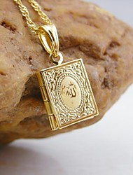 cheap -18K Golden Plated Allah Muslim Book Pendant