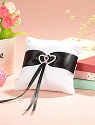 cheap -Small Ring Pillow In White Satin With Black Sash Wedding Ceremony
