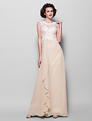 cheap -Sheath / Column Jewel Neck Floor Length Chiffon Lace Mother of the Bride Dress with Lace by LAN TING BRIDE®