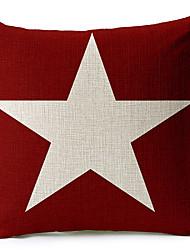 algodão vermelha estrela branca / fronha decorativo linho