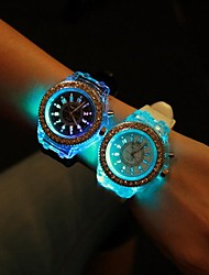 cheap -Women's Quartz Wrist Watch LED Silicone Band Sparkle Fashion Black White