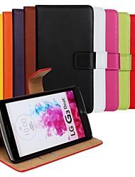 voordelige -hoesje Voor LG LG hoesje Portemonnee / Kaarthouder / met standaard Volledig hoesje Effen Kleur Hard PU-nahka voor