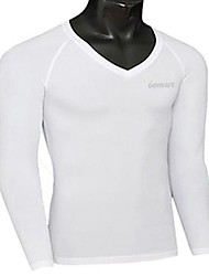 Masculino Camiseta Poliéster Cor Solida Manga Comprida Esporte-Preto / Azul / Branco