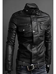cheap -first brand Men's Stand Coats & Jackets , PU Long Sleeve Casual