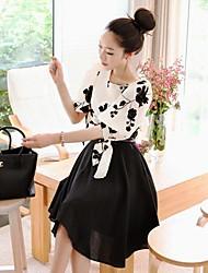 estilo de duas peças coreano das Xinfu ™ mulheres equipado grande vestido de tamanho