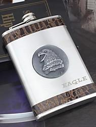 prata presente personalizado 9 oz hip balão de aço inoxidável - águia
