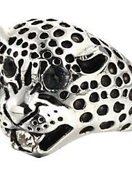 cheap -Fashion Leopard Head Silver Titanium Steel Ring