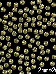 billige -100stk 2mm runde gylne metall klinke studs med hjul korn linje nail art dekorasjon