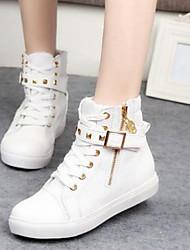 Feminino Sapatos Lona Primavera Outono Rasteiro Presilha Ziper Cadarço Para Casual Preto Branco