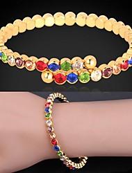 abordables -niñas u7® lindo pulseras coloridas marca 18k oro / platino austríaco plateado brazalete rhinestone pulsera joyería de moda