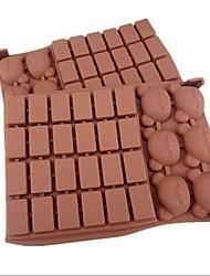 30 Hole Lattice Bear Shape Cake Ice Jelly Chocolate Molds,Silicone 18×12.5×2 CM(7.1×4.9×0.8 INCH)