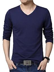 Herren T-shirt-Einfarbig Freizeit Baumwolle / Polyester Lang-Schwarz / Blau / Weiß / Grau