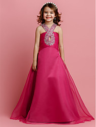 A-Line Floor Length Flower Girl Dress - Organza Sleeveless V-neck with Beading by LAN TING BRIDE®