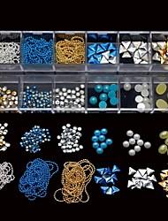 12 estilos mix unha cadeia pregos pérolas metade stcker rodada DIY Nail Art Decoração