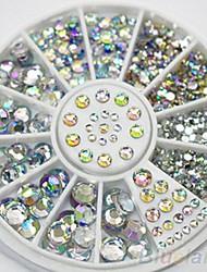 4 tamanho 300pcs nail art dicas da arte de cristal brilho strass decoração roda decoração de unhas