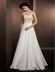 cheap -A-Line Illusion Neckline Floor Length Lace Satin Chiffon Wedding Dress with Appliques by LAN TING BRIDE®