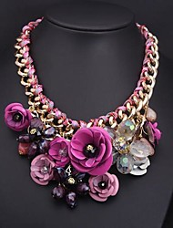 billige -kvinders overdrivelse blomster legering halskæde