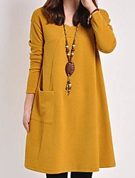 Women's Casual/Daily A Line Dress,Solid Round Neck Above Knee Long Sleeve Brown / Gray / Yellow Cotton / Polyester Spring / Fall