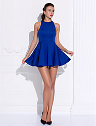 A-Line Princess Jewel Neck Short / Mini Jersey Cocktail Party Homecoming Prom Dress with Pleats by TS Couture®