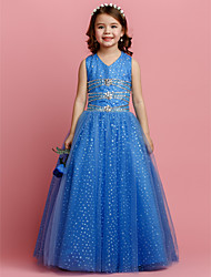 cheap -Ball Gown Floor Length Flower Girl Dress - Tulle Sleeveless V Neck with Beading Crystal Detailing by LAN TING BRIDE®