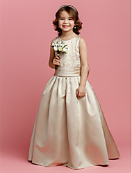 A-Line Floor Length Flower Girl Dress - Satin Sleeveless Jewel Neck with Beading by LAN TING BRIDE®