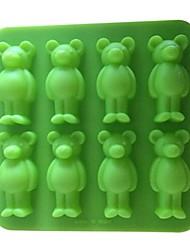 8 rupa medvjed oblik glazura mliječ čokolade plijesni, silikonski 15 × 15 × 1.7cm (6.0 × 6.0 × 0.7inch)