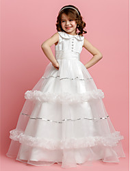 cheap -Ball Gown Floor Length Flower Girl Dress - Organza Satin Sleeveless Jewel Neck with Sequin Buttons Sash / Ribbon Ruched by LAN TING BRIDE®
