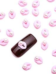 10pcs blanc nail art bijoux en perle pailleté rose sexy bijoux d'ongle pour la conception gel uv ongles simples