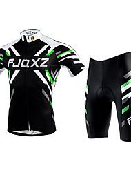 FJQXZ Cykeltrøje og shorts Unisex Kortærmet Cykel Trøje Tøjsæt Hurtigtørrende Ultraviolet Resistent Åndbart Polyester Net Patchwork Sommer