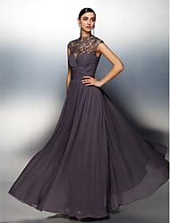 economico -Linea-A Collo alto Lungo Chiffon See Through Serata formale Vestito con Perline / Con applique / A incrocio di TS Couture®