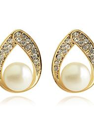 Brincos Curtos Brincos Compridos Moda Oco Jóias de Luxo Pérola Cristal Chapeado Dourado imitação de diamante Caído Dourado Jóias Para