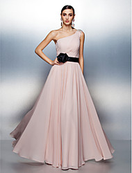 cheap -A-Line One Shoulder Floor Length Chiffon Formal Evening Dress with Beading / Side Draping by TS Couture®