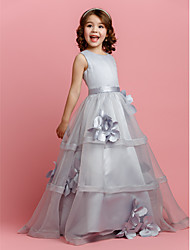 cheap -A-Line Floor Length Flower Girl Dress - Organza Satin Sleeveless Jewel Neck with Buttons Sash / Ribbon Flower by LAN TING BRIDE®