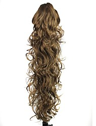 cheap -Claw Clip Synthetic 28 Inch Brown Long Curly Ponytail Hairpiece
