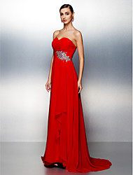 cheap -A-Line Sweetheart Sweep / Brush Train Chiffon Prom Formal Evening Dress with Beading Criss Cross Ruching by TS Couture®