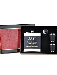 Personalized Gift 4 Piece Black 6oz Stainless Steel Hip Flask Set