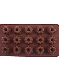 15 Hole Gollum Flowers Shape Cake Ice Jelly Chocolate Molds,Silicone21×10.7×2CM(8.3×4.2×0.8INCH)